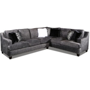 Barkskin Charcoal Sectional