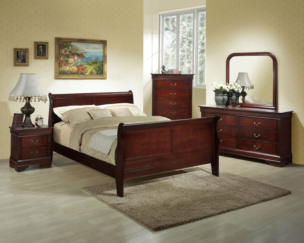 - Louis Philippe King Sleigh Bed - Cleo's Furniture