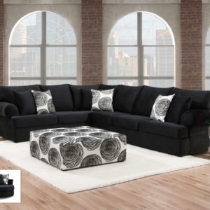 Groovy Black Sectional