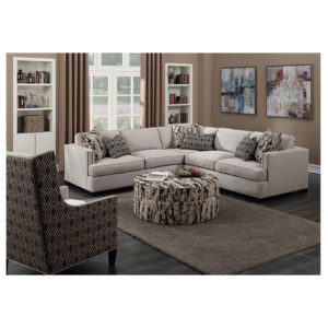 Broker Mushroom Sectional with Six Pillows