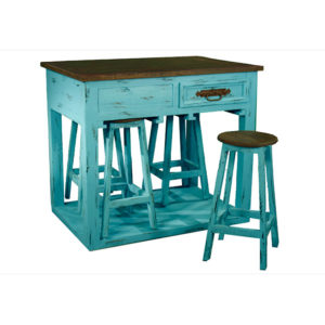 Rustic Kitchen Island W/stools Turquoise