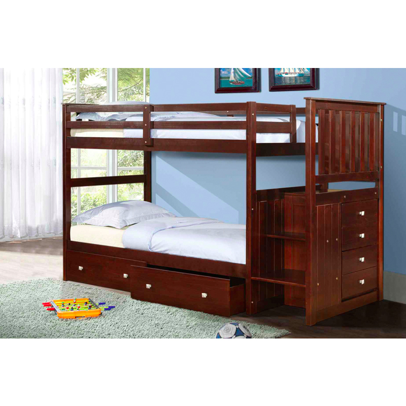 Son Twin Over Stairway Bunk Bed With Storage Drawers