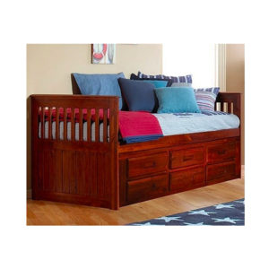 Merlot Twin Mission Rake Bed With 6 Drawers