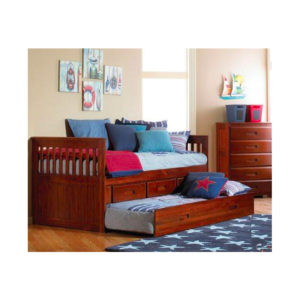 Merlot Twin Mission Rake Bed With Trundle And 3 Drawers