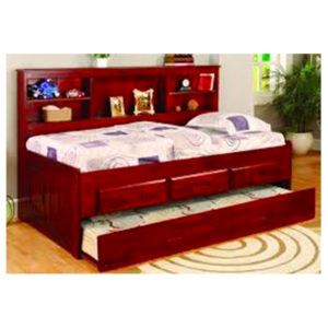 Merlot Twin Bookcase Daybed With Trundle And 3 Drawers