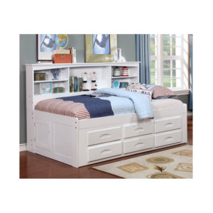 White Full Bookcase Daybed With 6 Drawers