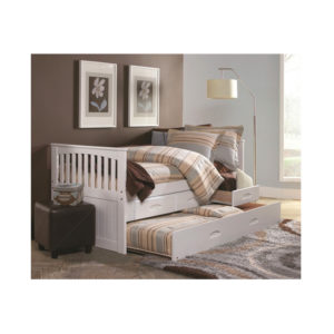 White Twin Mission Rake Bed With Trundle And 3 Drawers