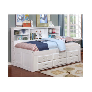White Twin Bookcase Daybed With 6 Drawers
