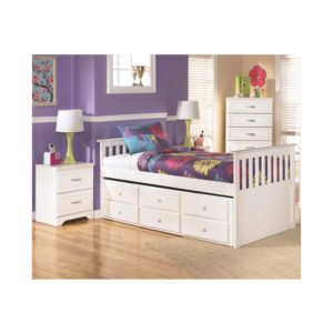 White Twin Mission Rake Bed With 6 Drawers