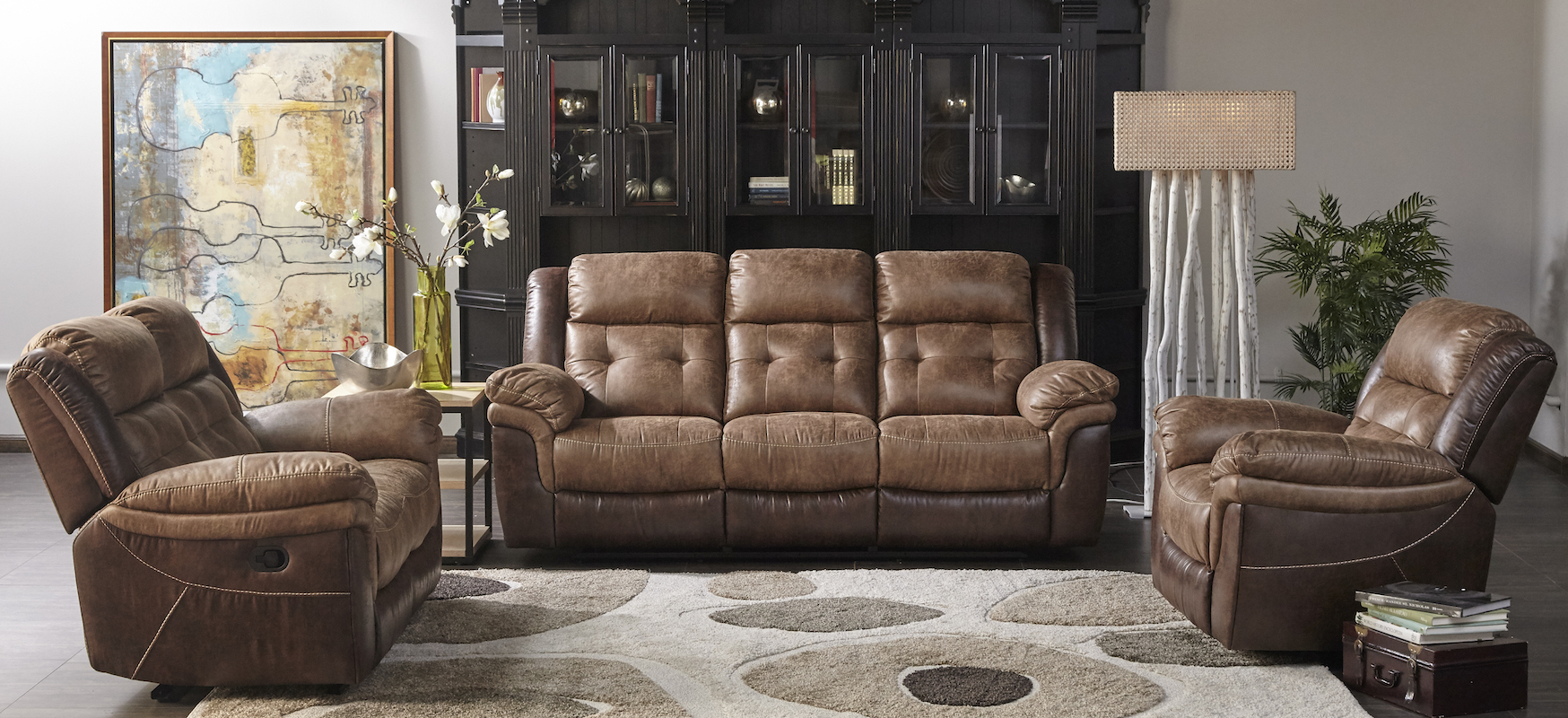 Two-Tone Brown Motion Sofa - Cleo\'s Furniture