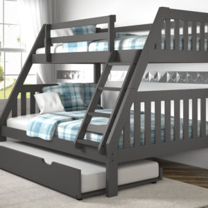 Layton Dark Grey Twin Over Full Bunk Bed With Trundle
