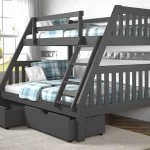 Layton Dark Grey Twin Over Full Bunk Bed With Storage