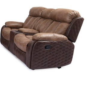 Quilted Umber Reclining Loveseat w/ Console