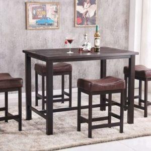 FOUR KHAKI STOOLS WITH PUB TABLE