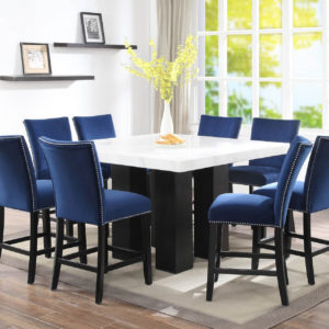 Camila Blue Velvet Counter Chair with Nailhead