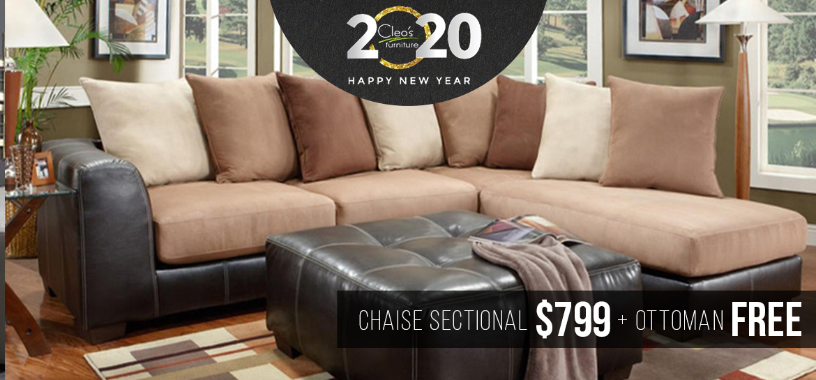Chaise Sectional $799 and Free Ottoman