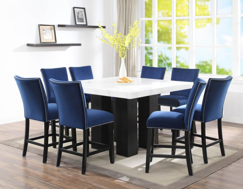 Camila Blue Velvet Counter Chairs