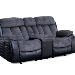 Quilted Charcoal Console Loveseat
