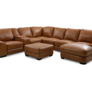 Palomio Softee Top Grain Leather 7 Pc Sectional
