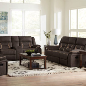 Engage Chocolate Loveseat with Console