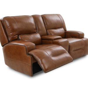 Edward Power Reclining Leather Love Seat