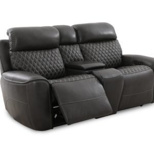 Charcoal Power Reclining Leather Love Seat